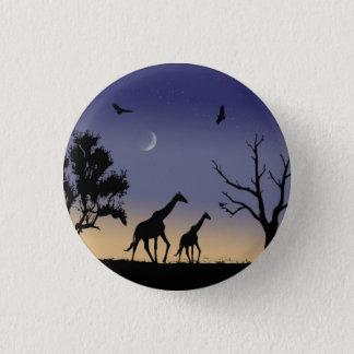African dawn - giraffes 1 inch round button