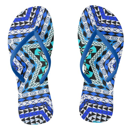 African Design - Blue Star Flip Flops