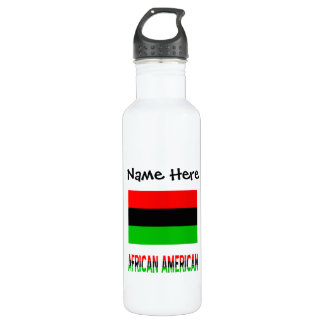 African Diaspora Flag and African American w/ Name 710 Ml Water Bottle