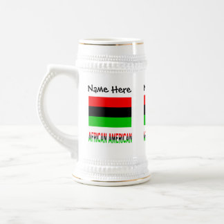African Diaspora Flag and African American w/ Name Beer Stein