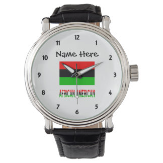 African Diaspora Flag and African American w/ Name Watch