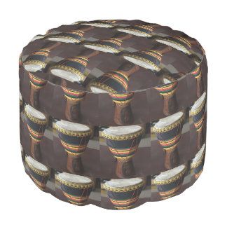 African Drum  Grade A Woven Cotton Round Pouf