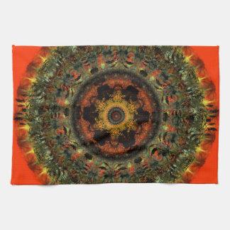 African Dusk Mandala Kitchen Tea towel (orange)