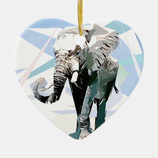 African elephant ceramic heart ornament