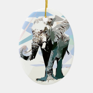 African elephant ceramic oval ornament