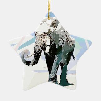 African elephant ceramic star ornament