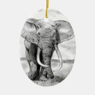african elephant drawing in pencil design ceramic oval ornament