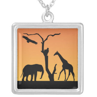African Elephant Giraffe silhouette necklace