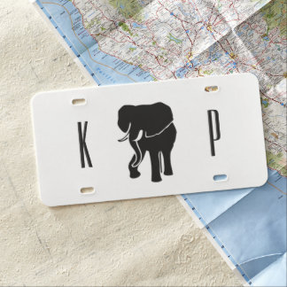 African Elephant Monogrammed License Plate