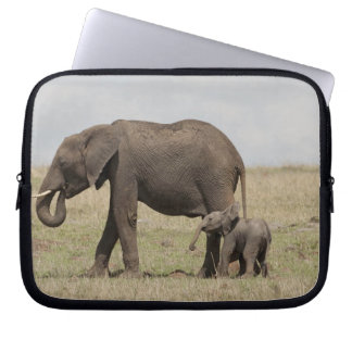 African Elephant mother with baby walking Laptop Sleeve