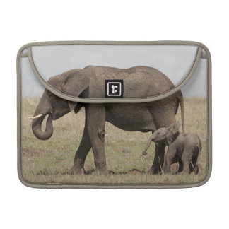 African Elephant mother with baby walking Sleeve For MacBooks