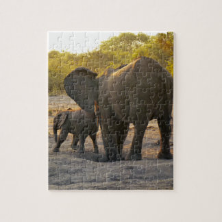African Elephant Mother with Calf Photoprint Jigsaw Puzzle