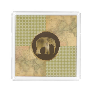 African Elephant on Map and Argyle Acrylic Tray