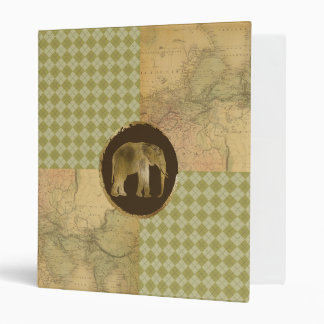 African Elephant on Map and Argyle Binder