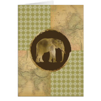 African Elephant on Map and Argyle Card