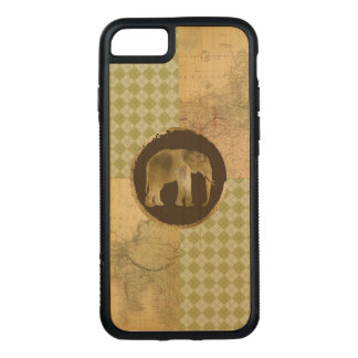 African Elephant on Map and Argyle Carved iPhone 7 Case