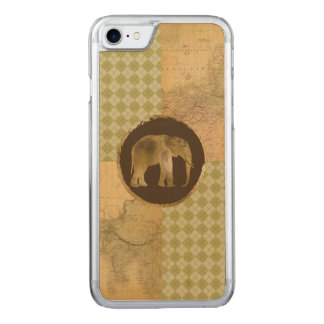 African Elephant on Map and Argyle Carved iPhone 8/7 Case