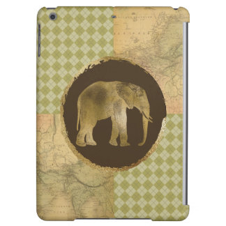 African Elephant on Map and Argyle Cover For iPad Air
