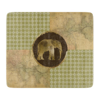 African Elephant on Map and Argyle Cutting Board