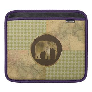 African Elephant on Map and Argyle iPad Sleeve