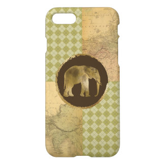 African Elephant on Map and Argyle iPhone 7 Case