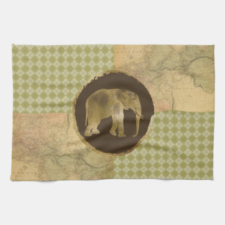 African Elephant on Map and Argyle Kitchen Towel