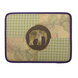African Elephant on Map and Argyle MacBook Pro Sleeve