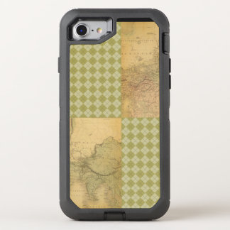 African Elephant on Map and Argyle OtterBox Defender iPhone 8/7 Case