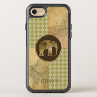 African Elephant on Map and Argyle OtterBox Symmetry iPhone 8/7 Case