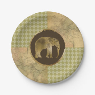 African Elephant on Map and Argyle Paper Plate