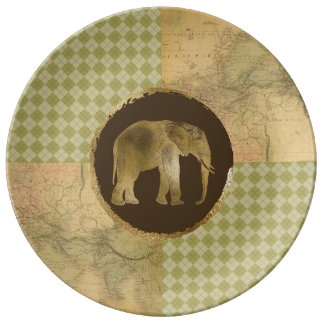 African Elephant on Map and Argyle Plate