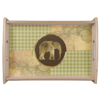 African Elephant on Map and Argyle Serving Tray