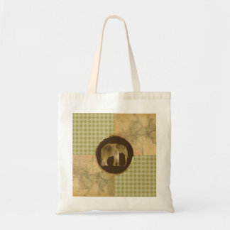 African Elephant on Map and Argyle Tote Bag