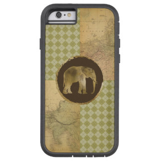 African Elephant on Map and Argyle Tough Xtreme iPhone 6 Case