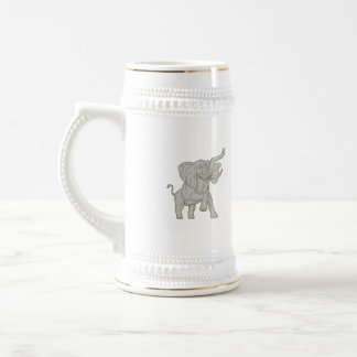African Elephant Prancing Mono Line Beer Stein