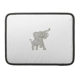African Elephant Prancing Mono Line MacBook Pro Sleeves