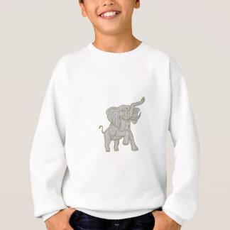 African Elephant Prancing Mono Line Sweatshirt