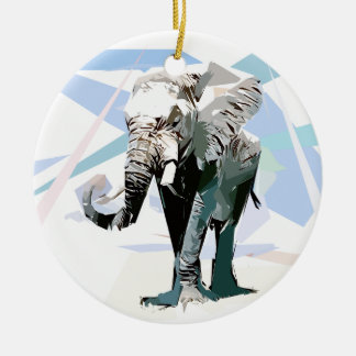 African elephant round ceramic ornament