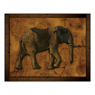 African Elephant Rustic Art Print