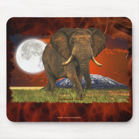 African Elephant & Savannah Moon Art Design Mouse Pad