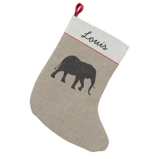 African Elephant Silhouette | Faux Linen Small Christmas Stocking