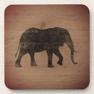 African Elephant Silhouette Rustic Style Coaster