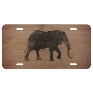African Elephant Silhouette Rustic Style License Plate