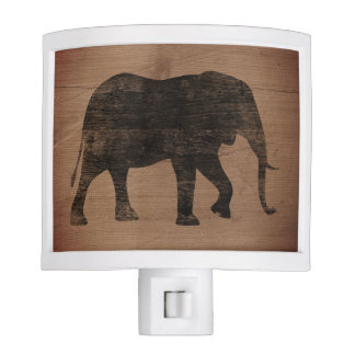 African Elephant Silhouette Rustic Style Nite Light