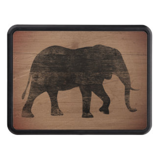 African Elephant Silhouette Rustic Style Trailer Hitch Cover