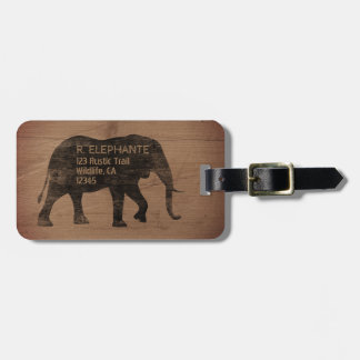 African Elephant Silhouette with Custom Text Luggage Tag