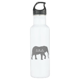 African Elephant Silhouette with Your Text 710 Ml Water Bottle