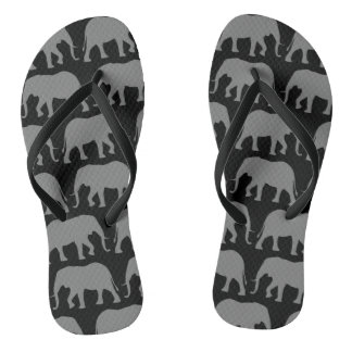 African Elephant Silhouettes Pattern Flip Flops
