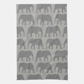 African Elephant Silhouettes Pattern Kitchen Towel