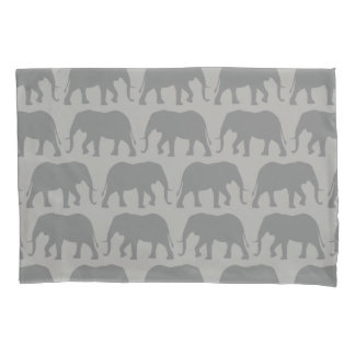 African Elephant Silhouettes Pattern Pillowcase